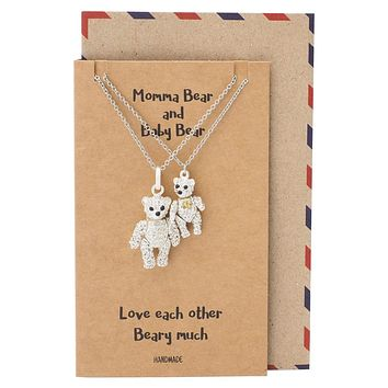 Eden Mama and Baby Bear Pendants 2 sets of Necklace, Mother and Daughter Jewelry