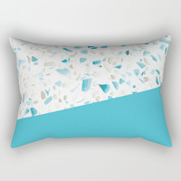 Terrazzo Texture Pacific Light Blue #5 Rectangular Pillow by printablespassions