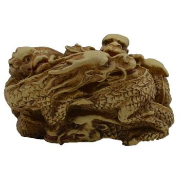 Japanese Netsuke - Five Dragons Statue