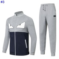Fendi autumn and winter new tide brand men's small monster Wei pants cardigan sweater casual suit two-piece #3