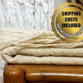 100% Wool Beige-Ivory Blanket Shawl for Cosy Scandinavian Style // Traditionally Hand Woven Scarf // Naturel Throw Bohemian Decor