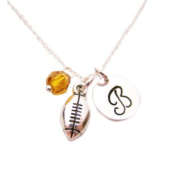 Football Charm Necklace -  Swarovski Birthstone Initial Personalized Sterling Silver Necklace / Gift for Her - Football Charm