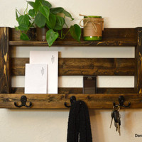 Rustic Entryway Organizer Keys Phone Mail Holder Hat Coat Rack Hooks Shelf Hall Foyer Dark Walnut Finished Wood