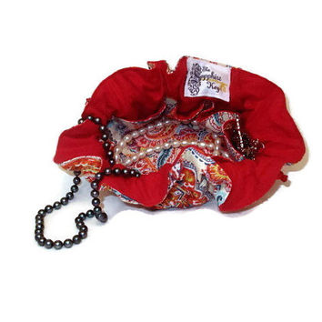 Drawstring Travel Jewelry Pouch / Satchel - Primary Color Paisley with Red Flannel