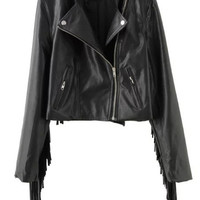 Black Oblique Zipper Fringed Cropped Long Sleeve Jacket