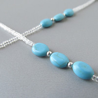 Beaded Reading Glasses Chain with Turquoise Ovals