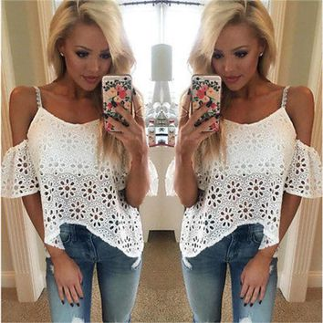 DCCKJG2 2016 New Fashion Sexy Women Casual Boho Lace Off Shoulder Shirt Summer Crop Tank Tops Blouse NEW