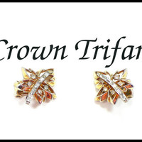 Vintage CROWN TRIFARI Rhinestone Earrings, Gold & Rhinestone Leaf Bridal Jewelry Prom Bridesmaid Pageant Maid of Honor Stage Collectors Gift