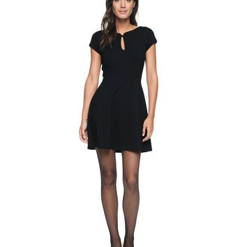 Pitch Black Solid Ponte Boat Neck Dress by Juicy Couture,