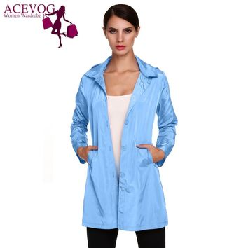ACEVOG Brand Women Jacket Raincoat Plus Size Autumn Winter Manteaux Femme Stylish Ladies Packable Solid Casual Hoodie Thin Coat