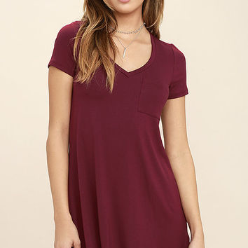 Better Together Wine Red Shirt Dress