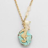 Turquoise Seahorse Necklace Gold