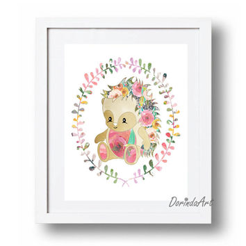 Baby hedgehog print Nursery animal wall art Floral watercolor Wreath Woodlands Nursery Little girls bedroom decor DOWNLOAD 16x20 11x14 8x10