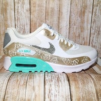 Bling nike air max 90 - custom painted nike shoes - bling nike shoes - custom painted sneakers - crystal nikes - custom nikes - air max -