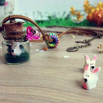 Terrarium necklace White Rabbit Necklace Forest Bunny Bottle Necklace Woodland Forest jewelry Miniature forest bunny animal jewelry necklace