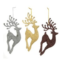 Metallic Glitter Reindeer Ornaments