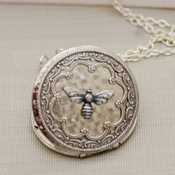 Queen Bee Silver Locket  Silver LocketPhoto by emmagemshop on Etsy