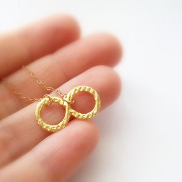 Gold infinity necklace, dainty textured inifinity necklace with 14k gold filled chain, dainty necklace, infinity, love by viartvi