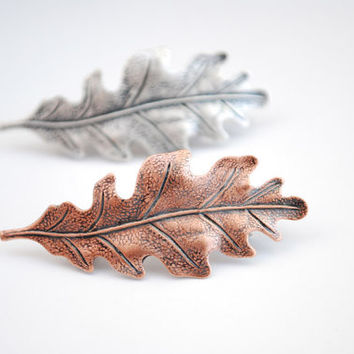 Copper Leaf Barrette. Leaf Barrette
