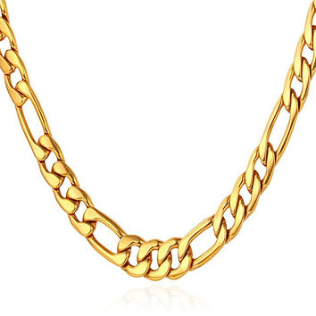 "5MM Men Necklace 18K Yellow Gold Plated Stainless Steel Figaro Chain  [18"", 22"", 26"", 28"", 30""]"