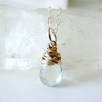 Aquamarine Necklace. Aquamarine Pendant. Silver necklace. Pale Blue Teal Teardrop Pendant