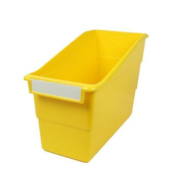 YELLOW SHELF FILE WITH LABEL HOLDER