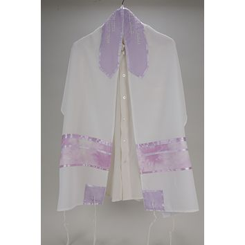 Women's Tallit with Abstract Lilac Design, Bat Mitzvah Tallit