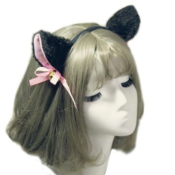 Women Cute Charming White/Black Cat Ear Hair Clip Female Girls Headband Bell Hairband Headwear accessoire cheveux