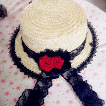 Princess classic lolita gothic lolita Vintage goths black lace red roses Straw flat-topped hat Lady hat gentlewoman sun hat