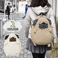 Japanese Kawaii Animal Pug Dog Canvas Unisex Satchel Shoulders Bag Backpack