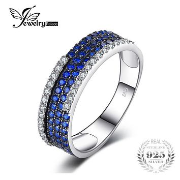JewelryPalace 0.81ct Created Blue Spinel Cluster Cocktail Ring 925 Sterling Silver Ring for Fashion Women Fine Jewelry