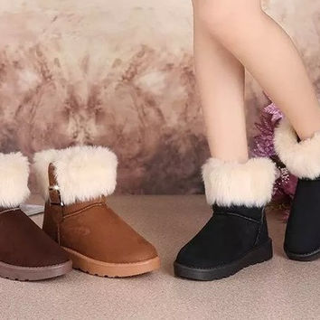 Womens Trendy Cotton Fur Winter Boots