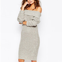 Strapless Collar Sweater Dress in Gray