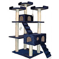 Cat Tree Collosal Deluxe Blue Condo House Scratcher 72-inch Furniture