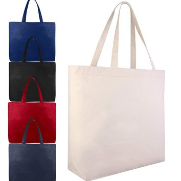 Extra Large Canvas Tote Bag Bulk with Hook and Loop Closure - TG212