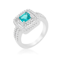 Micro-pave Aqua Vintage Ring, size : 06