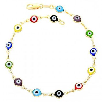 Gold Layered 03.63.1104.10 Fancy Anklet, Greek Eye Design, Multicolor Resin Finish, Gold Tone