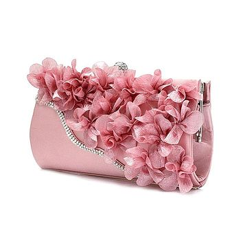 Hot Fashion Lady Satin Clutch Bag Flower Evening Party Wedding Purse Chain Shoulder Handbag