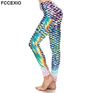 FCCEXIO Fashion Women's Ombre Bliny Shiny Mermaid Wings Leggings Fish Scale Printed Legging Stretch Fitness Legins Workout Pants