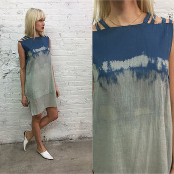one of a kind repurposed vintage hand dyed gauze dress / indigo and gray minimalist dress / wearable art