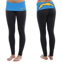 San Diego Chargers Ladies Sublime Knit Leggings - Navy Blue/Powder Blue