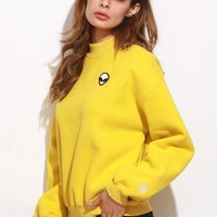 Yellow alien style turtle neck sweater