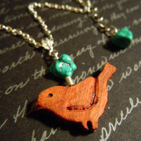 Turquoise and Wooden Bird Necklace by MissMacie
