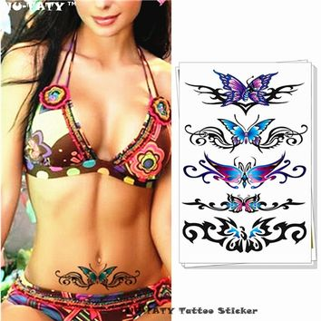 Nu-TATY Sexy Butterfly 3d Garland Temporary Tattoo Body Art Flash Tattoo Stickers 17*10cm Waterproof Fake Tatoo Henna tools