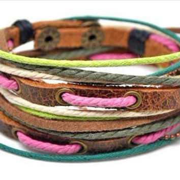 Fashion adjustable leather bracelet buckle bracelet men bracelet women bracelet made of ropes metal leather cuff   SH-1770