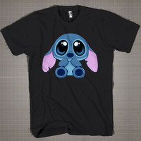 Stitch Mini-Lilo & Stitch  Mens and Women T-Shirt Available Color Black And White