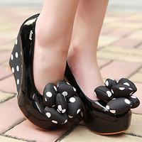 Cute Womens Girls Round Toe High Platform Heels Shoes Dots Flower Wedge 1kv