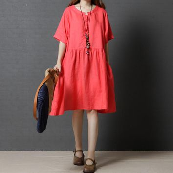 Women Summer Dresses New Fashion Casual Loose Stitching Yellow Short Sleeve Vintage Cotton Linen Dress