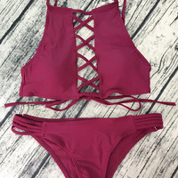 Lace-Up High Neck Bikini Set Swimsuit