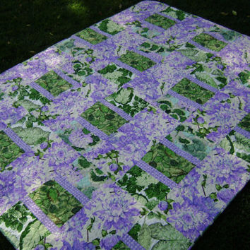 Lovely Floral Large Lap Single or Twin Quilt - Handmade Patchwork Blanket in Purple Green and White Martha Negley Fabrics